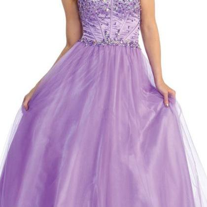 Sweetheart Tulle Long Ball Gown,Cu..