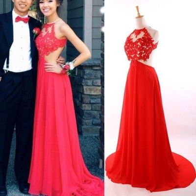 Long Prom Dress, Lace evening Dress..