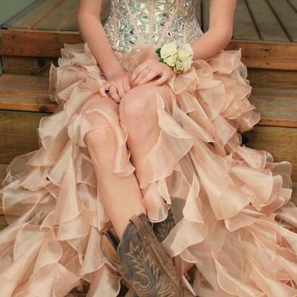 Custom Made Pink High Low Prom Dres..