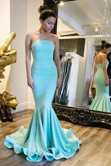Trumpet/Mermaid Strapless Silk-like Satin Sweep Train with Ruffles Prom Dresses