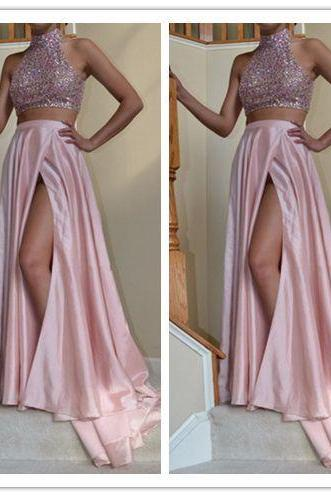Two Pieces Real Made Beading A-Line Prom Dresses