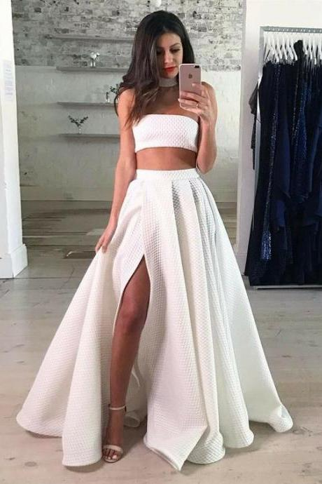 Two Piece Strapless Floor-Length White Lace Prom Dress with Split
