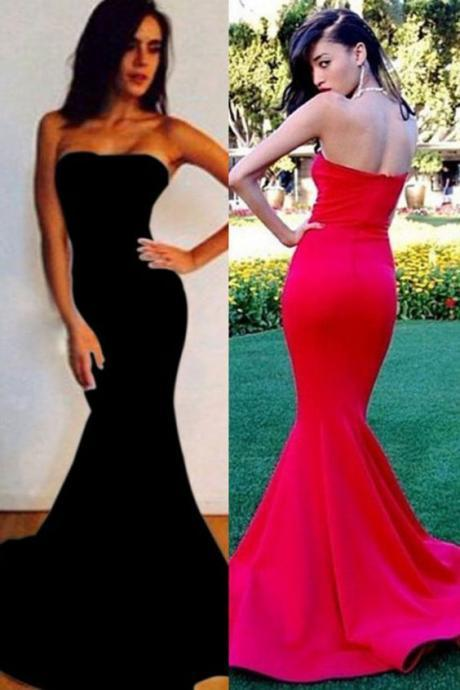 Red Custom Made Strapless Long Mermaid Prom Dress