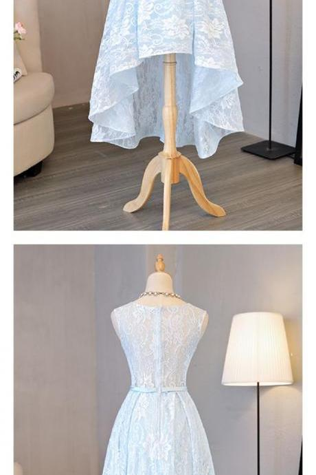 A Line Sky Blue Lace High Low Homecoming Dress Party Dresses Prom Dresses Cocktail Dresses Graduation Dresses