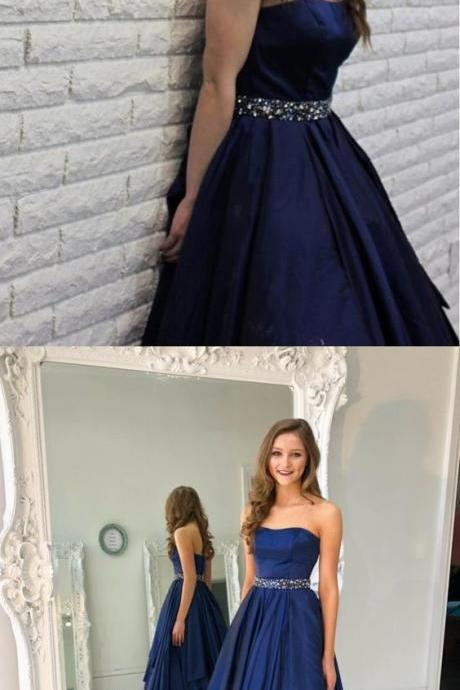 A-Line Sweetheart Sweep Train Satin Sleeveless Prom Dress with Beading Ruffles