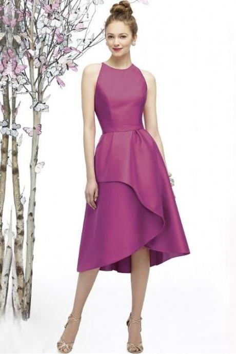Elegant Jewel Neckline Tea-length Satin Zipper A-line Bridesmaid Dresses