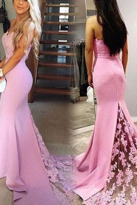 Sexy Spaghetti Straps Mermaid Prom Dress, Lace Prom Dress, Long Prom Dress, Sweetheart neckline Prom Dress, Lace Bridesmaid Dress