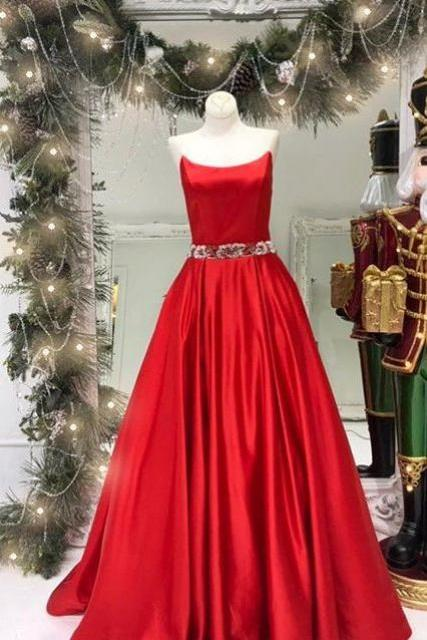 Strapless Red Long Prom Dress with Beads Belt
