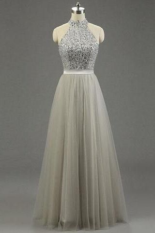 High Quality Long Prom Gown,Tulle Ruffled Bridal Dress,Princess Light Grey Gray Prom Gowns