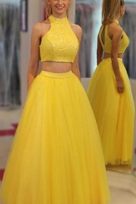 High Neck Prom Dresses, Yellow Long Prom Dresses, Yellow Two Pieces High Neckline Tulle Cheap Long Prom Dresses