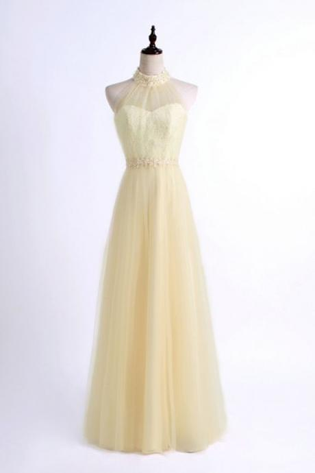 Beaded Embellished High Halter Neck Floor Length Tulle
