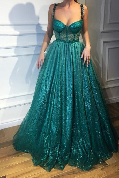 Open Back Dark Green Sequin Prom Dress
