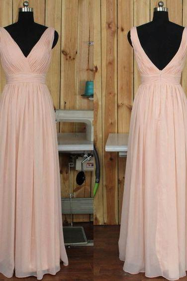 dress, pink dress, bridesmaid dress, chiffon dress, backless dress, pink chiffon dress