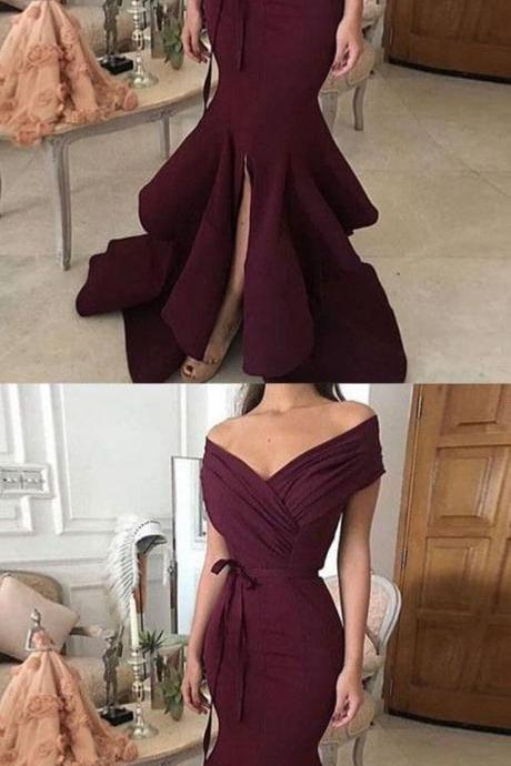 Simple off shoulder long prom dress, evening dress Prom Gowns, Formal Women Dress