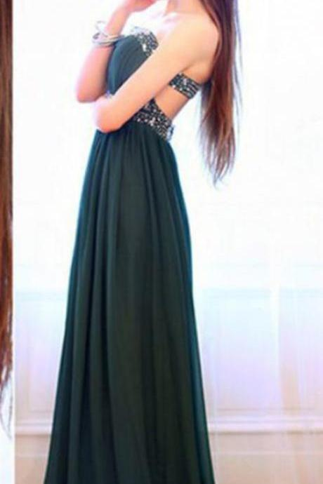 Dark Green Prom Dress,Long Elegant Prom Dresses,Custom Made Prom Dress, Beaded Chiffon Prom Dresses,Floor Length Prom Dress