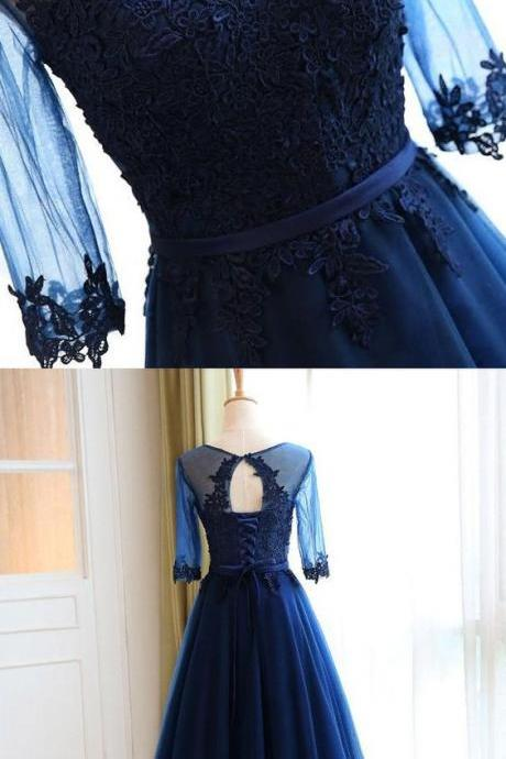 Custom Made Sleeves Dresses Long Navy Prom Evening Dresses With Applique Lace Up Floor-length Fancy Evening Dresses