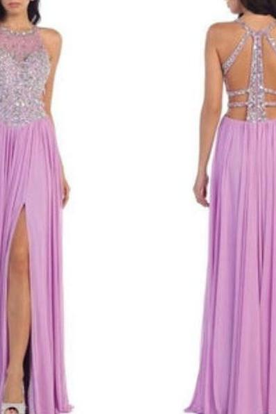 Purple Prom Dress, Lilac Prom Dress, Halter Prom Dress, Beaded Prom Gown, Chiffon Prom Dress, Sexy Formal Dress, Long Prom Dresses, Backless Prom Dress, Sparkly Prom Dress, Women Formal Dresses 2018