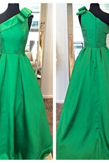 Green One-Shoulder Bow Accent A-line Long Prom Dress, Evening Dress