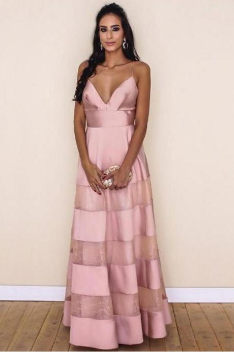 Sexy Prom Dresses A Line Spaghetti Straps Floor-length Lace Pink Chic Prom Dress