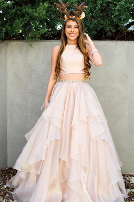 Two Piece Prom Dresses A-line Scoop Floor-length Long Sparkly Chic Prom Dress