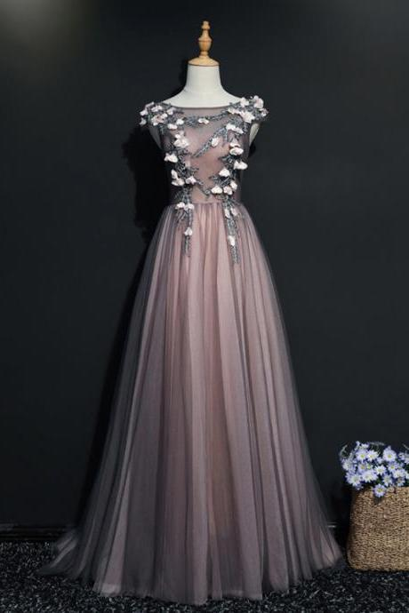 Long Prom Dresses, Tulle Prom Dresses, Sleeveless Prom Dresses, Applique Prom Dresses, A-Line Prom Dress, Floor-length Prom Dress