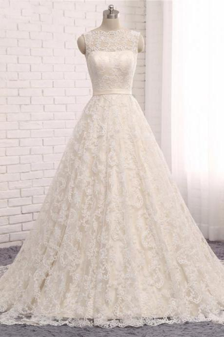 Long Wedding Dress, Sleeveless Wedding Dress, Lace Wedding Dress, V-Back Bridal Dress, Charming Wedding Dress, Bridal Dress, High Quality Wedding Dress
