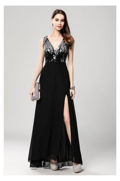 Black Sequin V-neck Long Chiffon Dress With Slit,Custom Made,Party Gown,Evening Dress,Cheap Prom Dress
