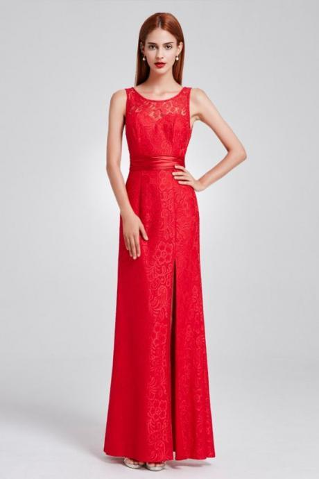 Red Full Lace Slit Formal Evening Dress with Sash