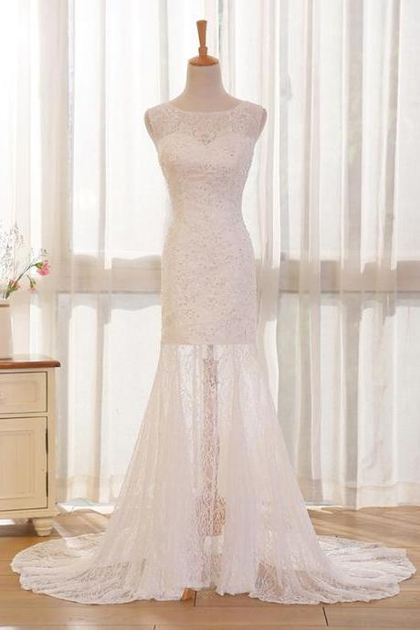 Long Wedding Dress, Lace Wedding Dress, Mermaid Wedding Dress, Sleeveless Bridal Dress, Charming Wedding Dress, Wedding Dress with Court Train