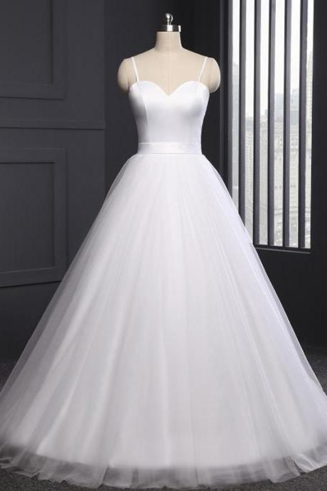 Satin Sweetheart Spaghetti Straps Floor Length Tulle Wedding Gown Featuring Sweep Train