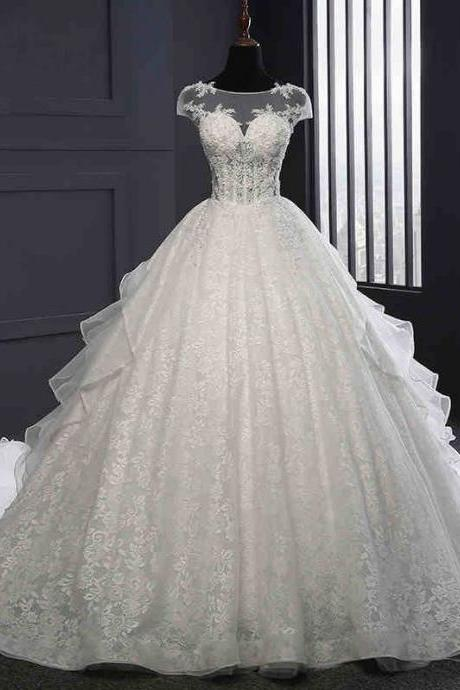 Long Wedding Dress, Beading Wedding Dress, Lace Wedding Dress, Applique Bridal Dress, Wedding Dress with Cathedral Train