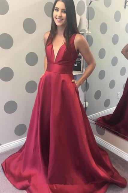 Gorgeous V Neck Burgundy Long Prom Dress