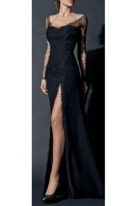 Classy Black Lace Prom Dress,Sexy Side Slit Prom Gown,See Through Long Sleeves Party Dress