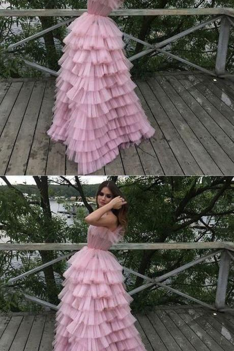 Stylish A-Line Strapless Tiered Pink Long Prom Dress