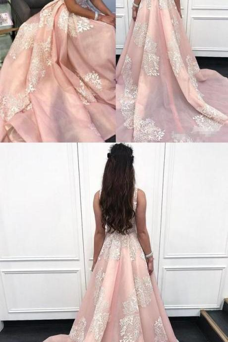 A-Line Scoop Court Train Pink Organza Prom Dress with Appliques