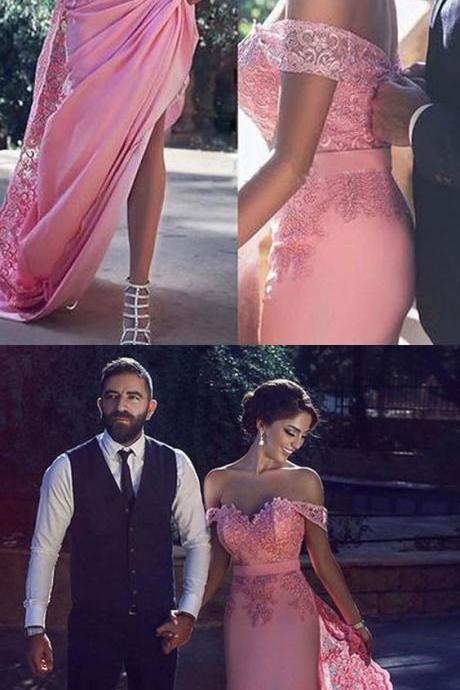 Pink Prom Dresses,Long Prom Gowns, Mermaid Prom Dresses,Cap Sleeve Prom Dress,Lace Prom Dresses,Off The Shoulder Prom Gowns