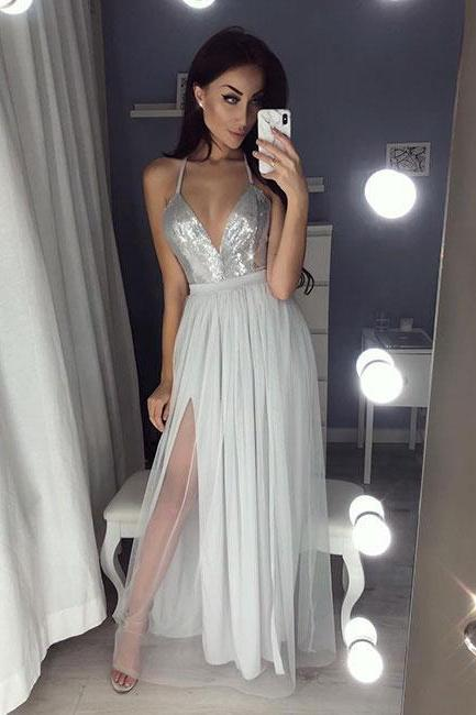 Hot Sexy A-Line Spaghetti Straps Split Front Gray Tulle Long Prom/Evening Dress