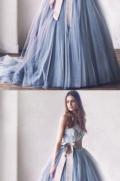 Princess A-Line Strapless Gray Blue Tulle Ball Gown Long Prom/Evening Dress with Bowknot