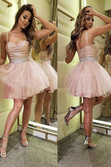Cute pink tulle short prom dress homecoming dress,Custom Made,New Fashion,Party Gown