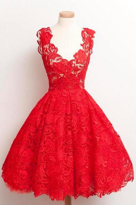 Vintage 2018 Scoop Red Lace Knee-Length Homecoming Dresses Prom Gowns