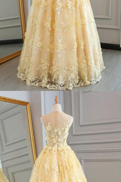 Yellow tulle lace prom dress,ball gown,prom dresses