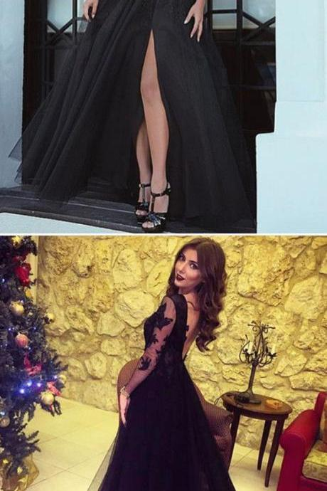 Long Sleeves Evening Gowns,Long Sleeves Prom Dress,Black Formal Dresses,Black Bridesmaid Dresses