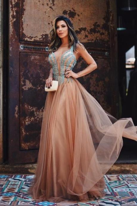 A-line ,Deep V Neck, Sleeveless Beadings, Spaghetti Straps,Long Prom Dresses With Layers, Long Evening Dress, Elegant Formal Dress