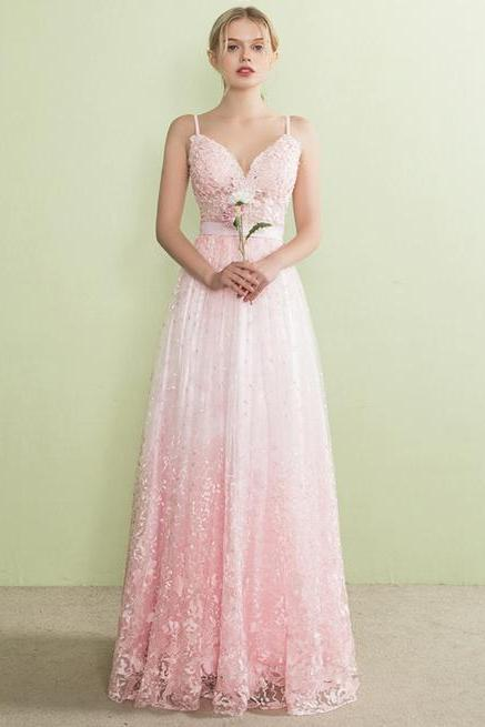 Sweetheart Spaghetti Strap Floral Lace A-line Floor-Length Prom Dress, Evening Dress