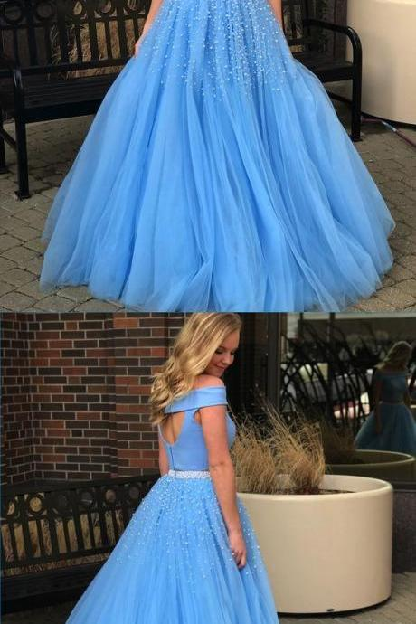 Unique blue off shoulder long pearl A-line two piece prom dress for Girls,Evening Gowns,2018 new fashion,Custom Made,Party Gown