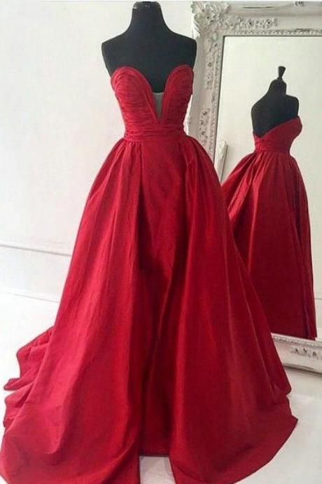 Decent Sweetheart Satin Court Train Red Ball Gown Prom Dress,Red prom dress,Long prom dress,Sweetheart prom dress,Prom dress