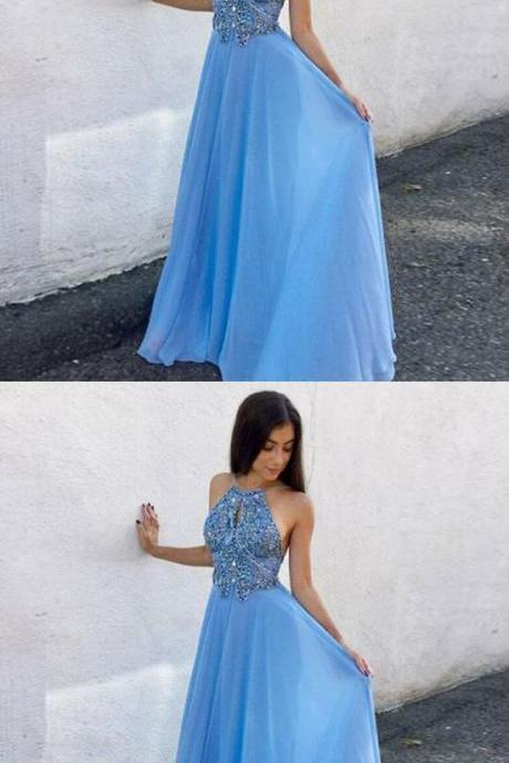 A-Line Round Neck Keyhole Blue Chiffon Prom Dress with Beading,Custom Made, Party Gown,Evening Dress