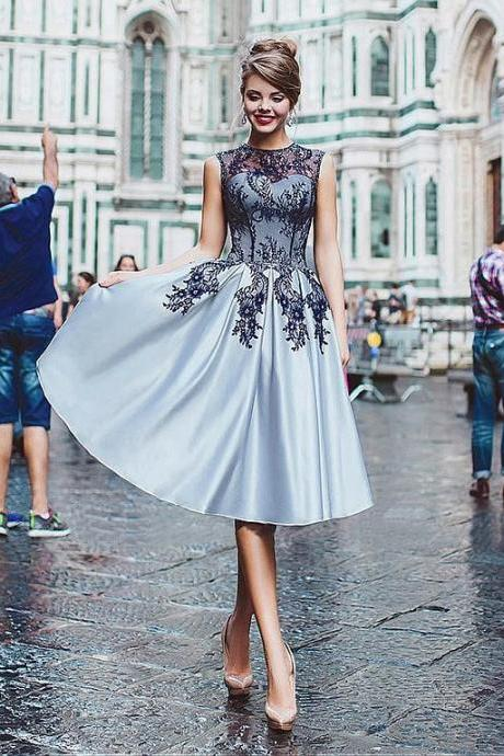 Gorgeous Satin Jewel Neckline Tea-length A-line Prom Dresses With Lace Appliques,Formal Women Dress ,Party Gown,Evening Dress,Cheap Prom Dress