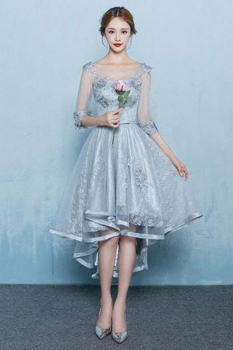 Gray Lace Hi Low Formal Prom Dress with Sleeves,Formal Women Dress ,Party Gown,Evening Dress,Cheap Prom Dress