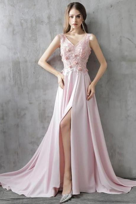 Chic A-line V-neck Chiffon Pink Applique Lace Modest Prom Dress Evening Dress , Formal Prom Dress ,Party Gown,Evening Dress,Cheap Prom Dress